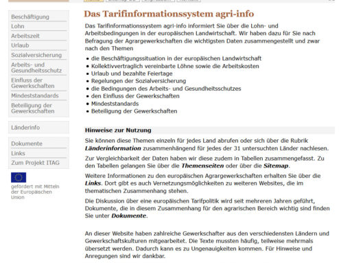 Internetgestütztes Tarifinformationssystem Agrar (ITAG)